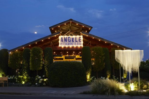 Angele exterior at night