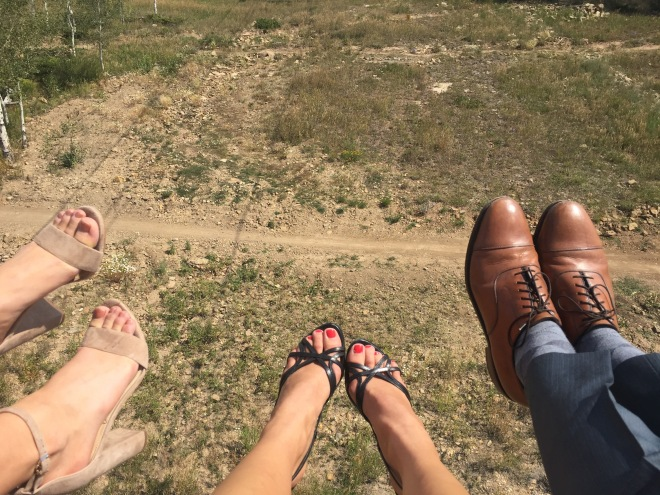 On the chair lift.